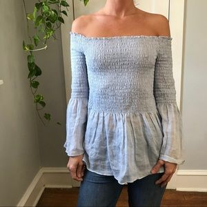 Zara Linen Blue Off The Shoulder Ruched Blouse